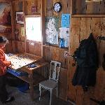 Warming hut, group-effort puzzle in progress