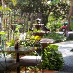 outdoor table and the well maintained private lot with a big fountain