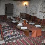 Fantastic resturant inside a fairy chimney in Cappadocia!!  We all sat on the mats on the floor