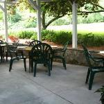 Beautiful outdoor garden patio seating