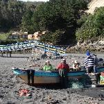 Crab fishermen removing catch from nets, cabana can be seen in background