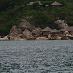 view of the villas from the speed boat