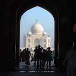 The Taj Mahal through the entrance arch
