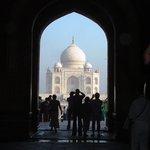 The Taj Mahal through the entrance arch