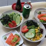 Seaweed Salad, and Salmon