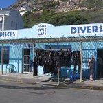 Front of the dive shop at Simonstown