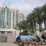 view of hotel from seaside walkway