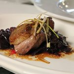Local food - VT Magret Duck Breast over purple cabbage