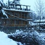Hotel covered in snow on new year eve