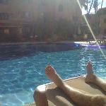 View of the pool area.  Wonderful heated pool