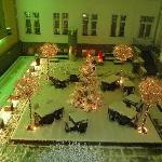 The fairytale courtyard from our room at night