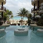 The view to the beach at the jacuzzi