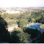 View of hotel pool gardens from sixth floor room