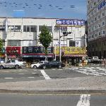 Hotel on right & Hardware store on left with Todai Seafood restaurant behind me
