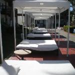 lounging beds by the pool