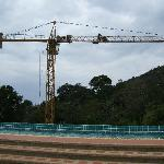 cranes over pool with no loungers to use ! bad