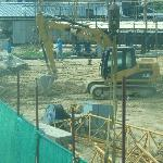 cranes and diggers noisy bulding site