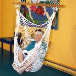 A hammock swing is a cosy spot to curl up and read
