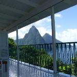 View of Pitons from Villa Alegria