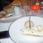 My White Choc Cheesecake with Praline ice-cream