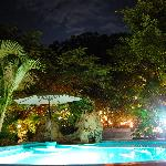 Night shot of the private pool
