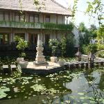 Lotus pond entry to rooms, pool & restaurant