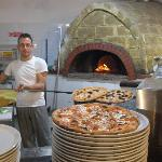 Pizza freshly made from the brick oven