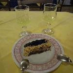 The famous Southern Italy desert wine - Lemoncello; and the tasty choco cake