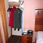Closet area next to the bed