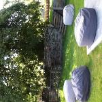 Relax on our bean bags in the garden bar