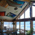 Glass enclosed dining, beautiful lake view!