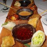 Appetizer platter at Asian restaurant