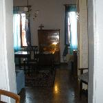 Looking into the apartment from the entry way