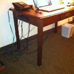 Small desk with messy wiring