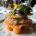 Lobster with melon and lavender dressing
