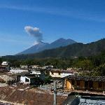 Volcanoes Fuego & Acatenango from roof top