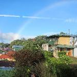 View out the dining room window - big rainbow