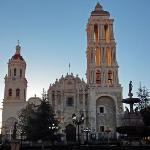 Early light hits tower at church on the main square near the Urdinola Hotel in Saltillo, Mexico.