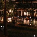 Hotel pond at night