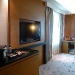 Study area, LCD tv and mini bar with Nespresso machine