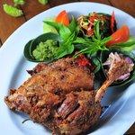 Bebek Goreng, fried coriander & ginger marinated duck