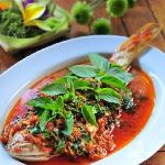 Ikan Panggang Kemangi, slow simmered fish in ginger, chili, lemongrass and lime leaf