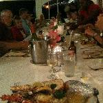 Lobster dinnner for the crew at Pomato Point