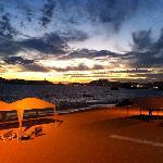 hotel beach after sunset, taken from hotel restaurant