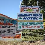 Sign from main road to Combate Beach Hotel
