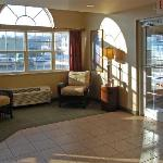 Main entry and sitting area inside the Bellevue, NE Microtel.
