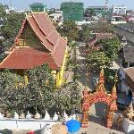 view from the balcony. mixay temple on the left. school on the right