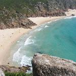 Porthcurno beach (7 miles away) taken from the entrance to the Minack Theatre