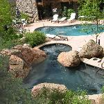 Outside heated hot tub and pool