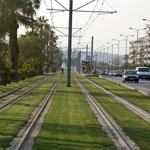 Tram line by the beach
